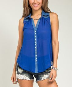 This Royal Blue Split-Back Sleeveless Button-Up by Buy in America is perfect! #zulilyfinds