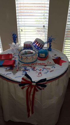 Cake table for my dads 86th B'Day Fourth of July