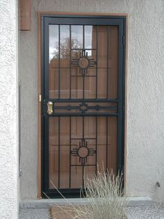 paint for outside security door gate Security Screen Door, Iron Security Doors, Security Door, Grill Gate Design, Door Grill, Iron Doors, Security Storm Doors, Steel Door Design, Front Door Security