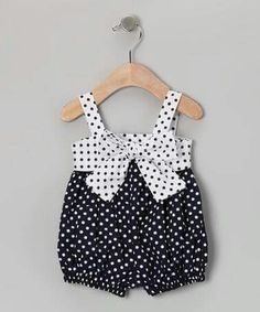 Take a look at this Navy White Polka Dot Romper - Infant by Plum Pudding on today! Cute Girl Outfits, Little Girl Dresses, Toddler Outfits, Kids Outfits, Girls Dresses, Baby Bloomers, How To Have Twins, Niece And Nephew, Baby Love