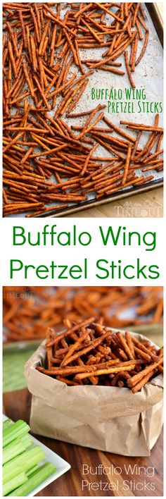These Buffalo Wing Pretzel Sticks are so delicious! Perfect snack for a party.