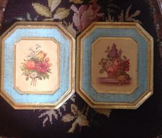 Vintage Pair of Italian Florentine Gilt Tole Pictures of Flowers on Painted Gilded Wood Panels by aniadesigns on Etsy