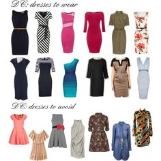 "Dresses for Dramatic Classic by wichy on Polyvore | NOTE: Kibbe wrote, ""Dresses should be tailored, sleek, and narrow, with sharp edges and crisp detail. Coatdresses, chemises, and slinky sheaths are all excellent. Waists may be defined with a wide, geometric belt (usually in a contrasting color to match accessories), or may be dropped low, or even eliminated. Elongated draping or sleek bias-cuts are also soft and elegant. Sharp or sculpted shoulders (with pads) are a must!"""