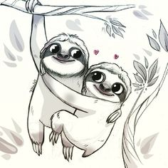 Sloths love ❤ (...i know sloths are loners.. Pssss ) #sketch #sketches…