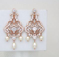 Rose gold earrings Bridal earrings Wedding earrings Bridal