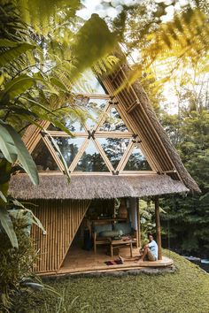 Hideout Bali | Eco Bamboo Home | Cabins in Bali Bamboo House Bali, Bamboo House Design, Tropical House Design, Bali House, Tropical Houses, Bungalow, Bamboo Building, Hut House, Jungle House