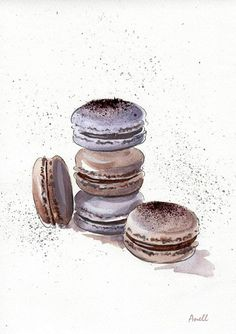 Chocolate Macaroons watercolor Print  by AnellHappyWatercolor