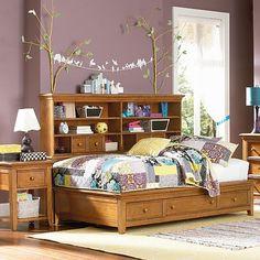 Willow Run Toffee Sideways Platform Bed... yes to everything! #purple #teen #bedroom