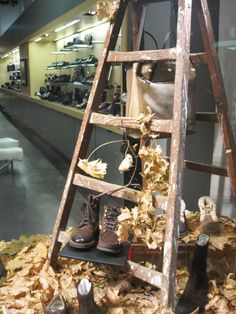 fall leaves window display
