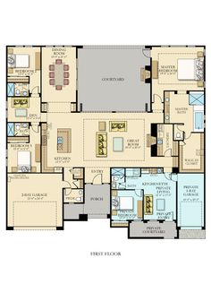 Tucson custom home hacienda floor plan the courtyard for Multi family house plans with courtyard