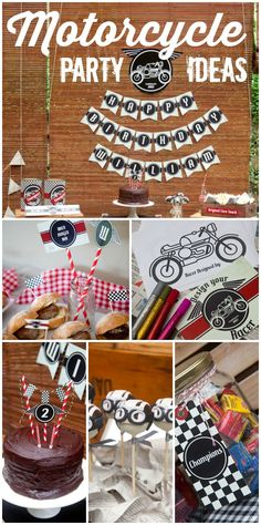 This Cafe Racer motorcycle boy birthday party features vintage candy, an art activity, and chocolate cake!  See more party ideas at http://CatchMyParty.com!
