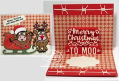 Frances Byrne using the Pop it Ups Merry Christmas, Sleigh, Western Edges, Brownie the Cow, Props 5 and the lights from Holiday House by Karen Burniston for Elizabeth Craft Designs. - Karen Burniston July Designer Challenge Day 2