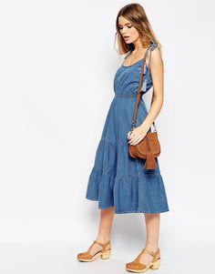 ASOS Denim Layla Tiered Midi Dress With Tassle Straps
