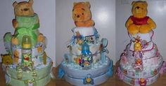 THIS CAKE IS MADE WITH ABOUT 70 BRAND DIAPERS, WASH CLOTHS, TOPPER, BIB, BURP CLOTH, RECEIVING BLANKET, TOYS, SOCKS, PACIFIER, BRUSH, COMB, BABY SCISSORS, BABY NAIL FILE, CLIPPERS, MICKEY OR MINNIE DOLL, AND/OR ANY OTHER BABY RELATED ITEMS.