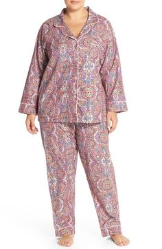 BedHead Paisley Flannel Cotton Pajamas (Plus Size) available at #Nordstrom