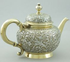 19c Antique French Sterling Silver Tea Coffee Pot ... | Tea Pots,Metal
