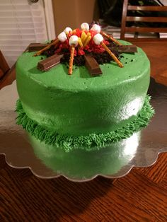 Cub Scout campfire cake for Blue & Gold Banquet