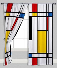 Mondrian Curtain Panels found on Zulily Piet Mondrian, Panneau Mural 3d, Geometric Curtains, Panel Curtains, Curtain Panels, Deco Furniture, Art Classroom, Colour Schemes, Geometric Shapes