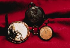 Pocket Watches from the Wreckage: Found among the wreckage of the Titanic were thousands of personal items belonging to the ship and its passengers. Pictured is a collection of pocket watches.