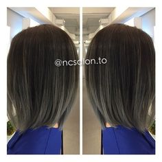 Achieved a silver grey tone ombre balayage with Asian-type ...