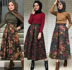 What beautiful skirts Modest Fashion Hijab, Hijab Style Dress, Modern Hijab Fashion, Muslim Fashion, Skirt Fashion, Fashion Outfits, Oufits Casual, Casual Hijab Outfit, Modest Dresses