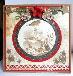 Lovely card- I love the neutrals with a touch of red and green.  Cute picture in center.  : )