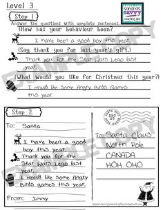FREE Differentiated Postcard to Santa: PreK-3rd