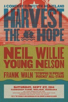 """""""Alright people. Big concert announcement:  I'll be performing with Willie Nelson and Neil Young on September 27th at the Harvest the Hope concert on a farm in Nebraska to benefit the Cowboy and Indian Alliance. I'll be representing the Oceti Sakowin, rocking with legends to protect our land and water   Help spread the word!!!"""" -Frank Waln's share"""