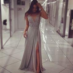 silver prom dress,silver bridesmaid dress,slit prom dress,mermaid evening dress,elegant dress,sexy prom gowns,chiffon dress