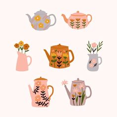 Cute Floral Teapot With Bouquet Of Spring Flowers In Scandinavian Style.