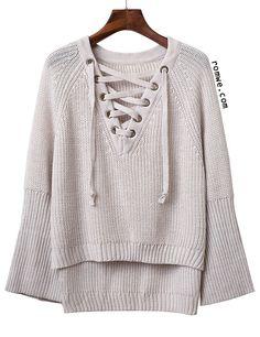 Grey V Neck Lace Up Raglan Sleeve Sweater