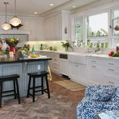 Genial Herringbone Brick In Traditional Kitchen By Darci Goodman Design   Houzz
