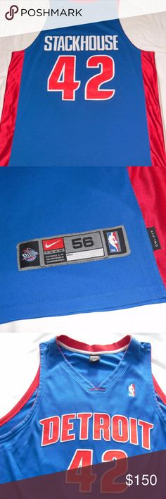 7f205a2cb6a8 Erich LippertJerry Stackhouse · Nike Authentic Detroit Pistons Jersey NBA  vtg Up for your bidding pleasure is a Nike Authentic