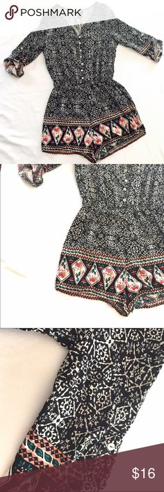 """Rue 21 Romper Size Small Rue 21 romper size small. 100% rayon.  Delicate buttons on front. Button tab sleeves.  Length 30"""" armpit to armpit 16"""" Rue 21 Pants Jumpsuits & Rompers"""