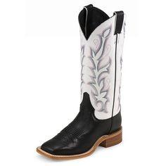 Black Justin Bent Rail Square Toe Boots