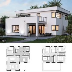 One Family House Plans with 2 Story & 4 Bedroom Modern Contemporary European Minimalist Styles, Architecture & Interior Design Ideas, Floor Plan with Flat Roof & Balcony - Dream Home Ideas ELK Haus 18 House Layout Plans, Family House Plans, House Layouts, Bungalow House Design, House Front Design, Modern House Design, Home Design, Small Modern Houses, Flat Roof House Designs