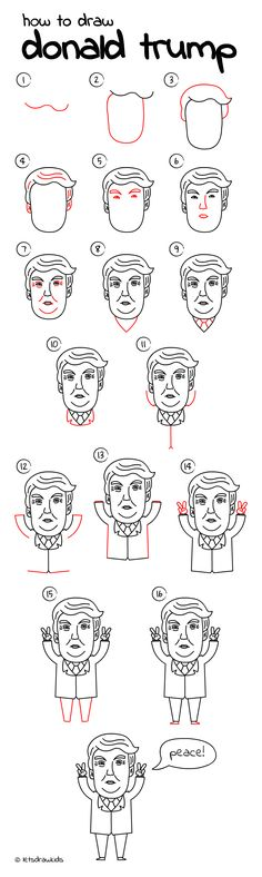 How to draw Cartoon Donald Trump. Easy drawing, step by step, perfect for kids! Let's draw kids. http://letsdrawkids.com/