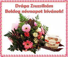 névnap, képeslap, virágok, köszöntő, bonbon, csokor, Zsuzsanna,