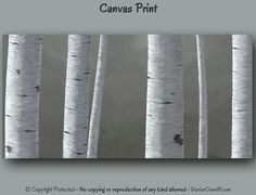 Minimalist gray, black & white home or office wall decor - Landscape canvas print of birch tree painting by Denise Cunniff - ArtFromDenise.com. View more info at https://www.etsy.com/listing/204865670