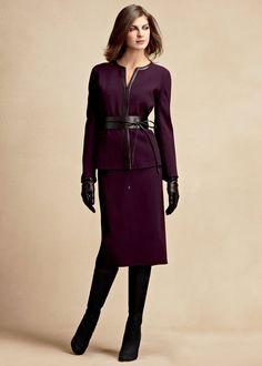 Plum suit dress with leather accessories