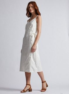 Our White Denim Dress With Tie Waist, Ideal For Casual Summer Wear, Style With Sandals. Summer Wear, Casual Summer, White Denim Dress, Summer Clothes, Summer Outfits, Summer Looks, Cotton Dresses, Camisole, Classy