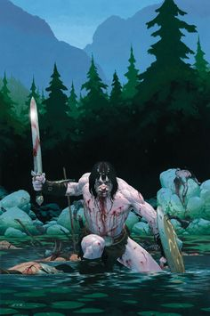 m Barbarian Shield Greatsword River Conifer Forest Mountain Valley wilderness battle story Conan by Esad Ribic lg Comic Book Artists, Comic Artist, Comic Books Art, Red Sonja, Fantasy Warrior, Silver Surfer, Paladin, Conan The Destroyer, Marvel Comics