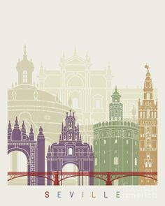 / seville / skyline poster / illustration / painting by pablo romero / Glass Painting Patterns, City Icon, City Vector, Skyline Art, Seville Spain, Voyage Europe, Urban Architecture, City Illustration, Instagram Highlight Icons