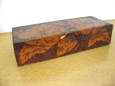 Vintage wooden box. Pyrography wood burned pattern. Ladies' glove box. storage home decor 1930s handmade box. by PickleladyVintage on Etsy