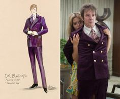 While Bridges mostly stayed true to Pynchon's descriptions of the characters, the designer veered a bit off course when it came to Martin Short's Dr. Rudy Blatnoyd. In the book, Blatnoyd is described as wearing an ultra violet velvet suit. Though Bridges ultimately recreated the look, he ended up dressing Short in a plum suit he designed so as not to have the brighter costume take the audience's focus off the story.