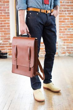 ba5fb8ef5c 400 Series in Large Backpack in English Brown Leather - Bridle leather  large backpack carried as briefcase