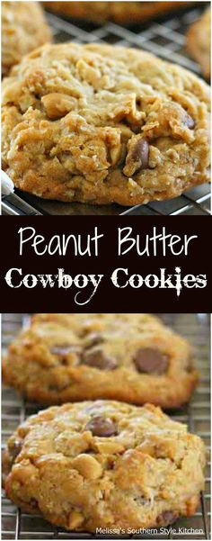 Peanut Butter Cowboy Cookies - I've never outgrown the thrill of warm gooey chocolate filled cookies and a glass of cold milk. I fully intend to keep it that wa (Peanut Butter Cookies) Cookie Desserts, Just Desserts, Cookie Recipes, Baking Recipes, Dessert Recipes, Cookie Bars, Pilsbury Biscuit Recipes, Vegan Recipes, Baking Cookies