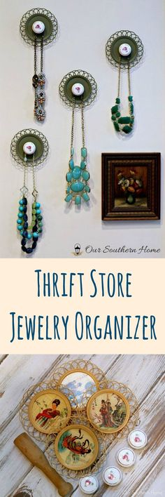 Create a beautiful jewelry organizer with items from the thrift store