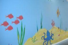 Undersea school corridor mural