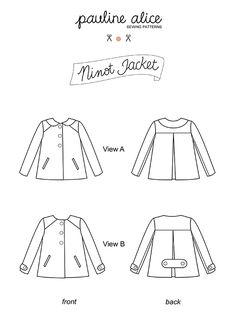 Ninot jacket sewing pattern features back pleat, peter pan collar, welt pockets and bound buttonholes. Needs of fabric + of lining. Coat Patterns, Pdf Sewing Patterns, Clothing Patterns, Sewing Ideas, Sewing Coat, Sewing Clothes, Pauline Alice, Couture Coats, Home Sew